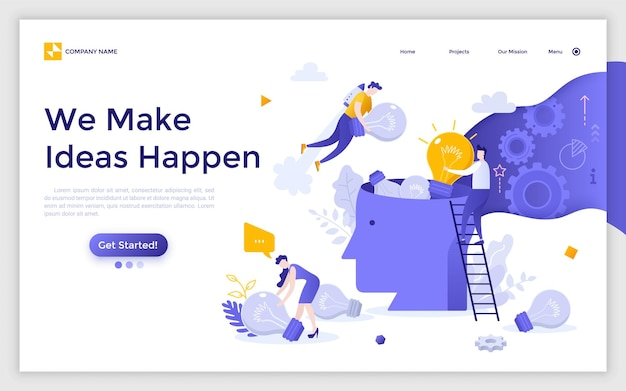 Landing page with team of men and women, managers or office workers collecting light bulbs into giant head. innovative ideas creation, creative work, brainstorming. colorful flat vector illustration.