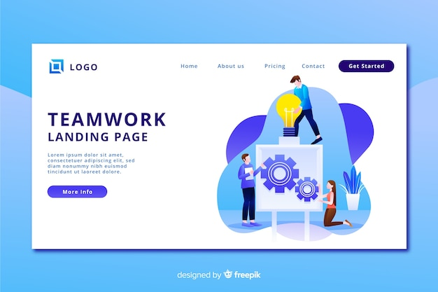 Landing page with team working and gears