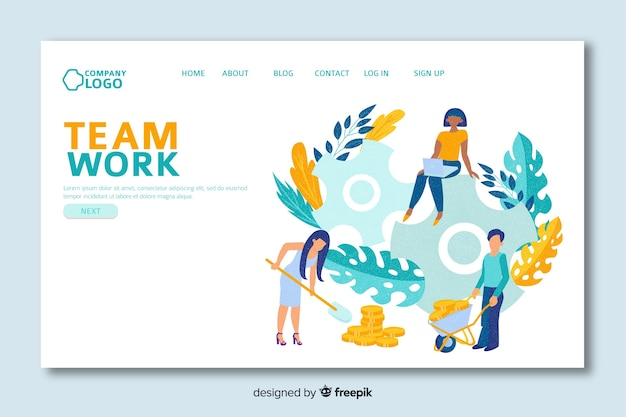 Landing page with teamwork and leaves