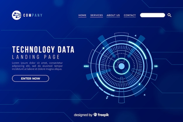 Landing page with technology concept