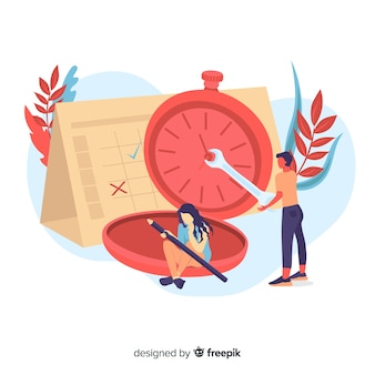 Landing page with time management clock