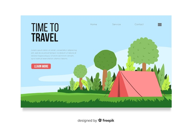 Landing page with travel concept