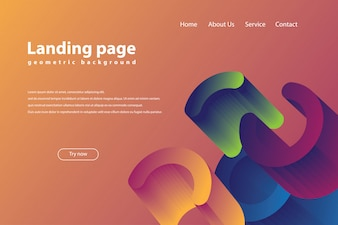 Landing page with trendy geometric background