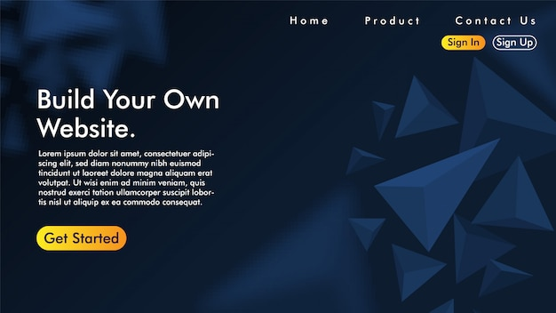 Landing page with triangle