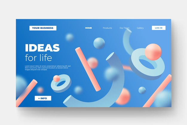 Landing page with tridimensional shapes