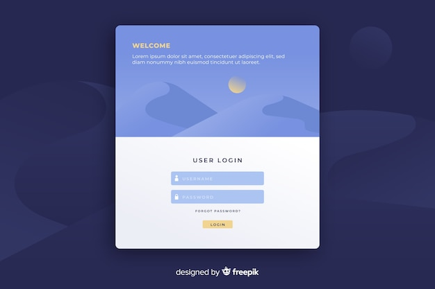 Landing page with user login form