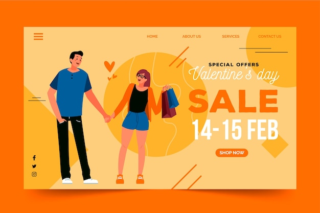Landing page with valentines day sales