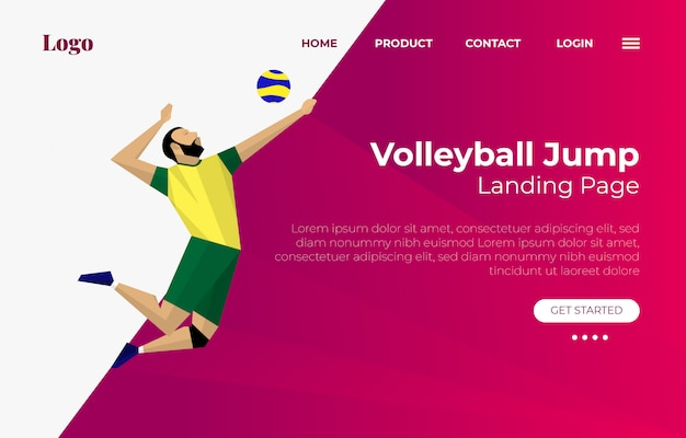 Landing page with volley ball player jump illustration