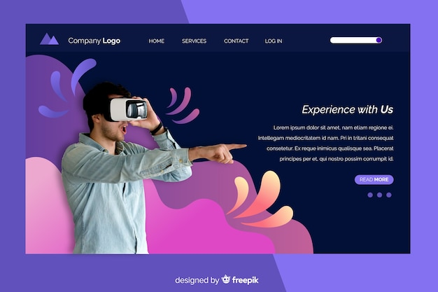 Landing page with vr glasses photo