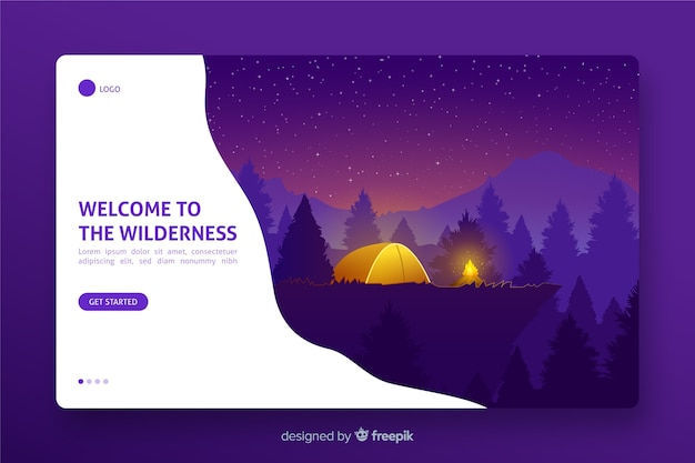 Landing page with welcome to wilderness theme