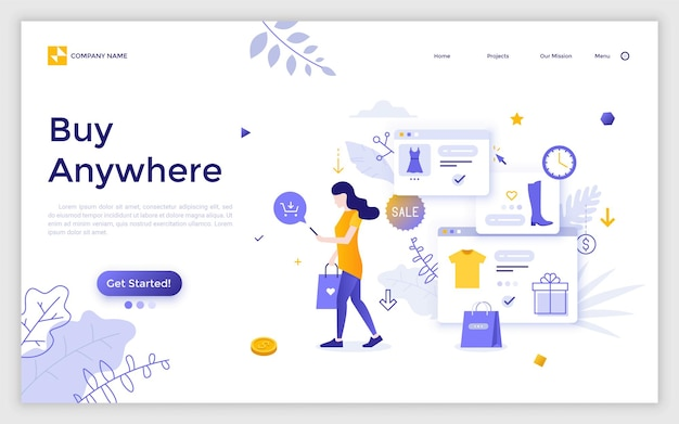 Landing page with woman carrying shopping bag, holding smartphone, purchasing clothes online and place for text. buy anywhere. mobile application for internet retail. vector illustration for website.
