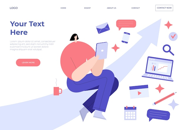 Landing page with woman sitting on arrow and holding tablet pc computer.
