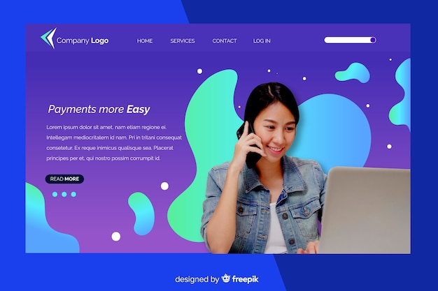 Landing page with woman with laptop photo