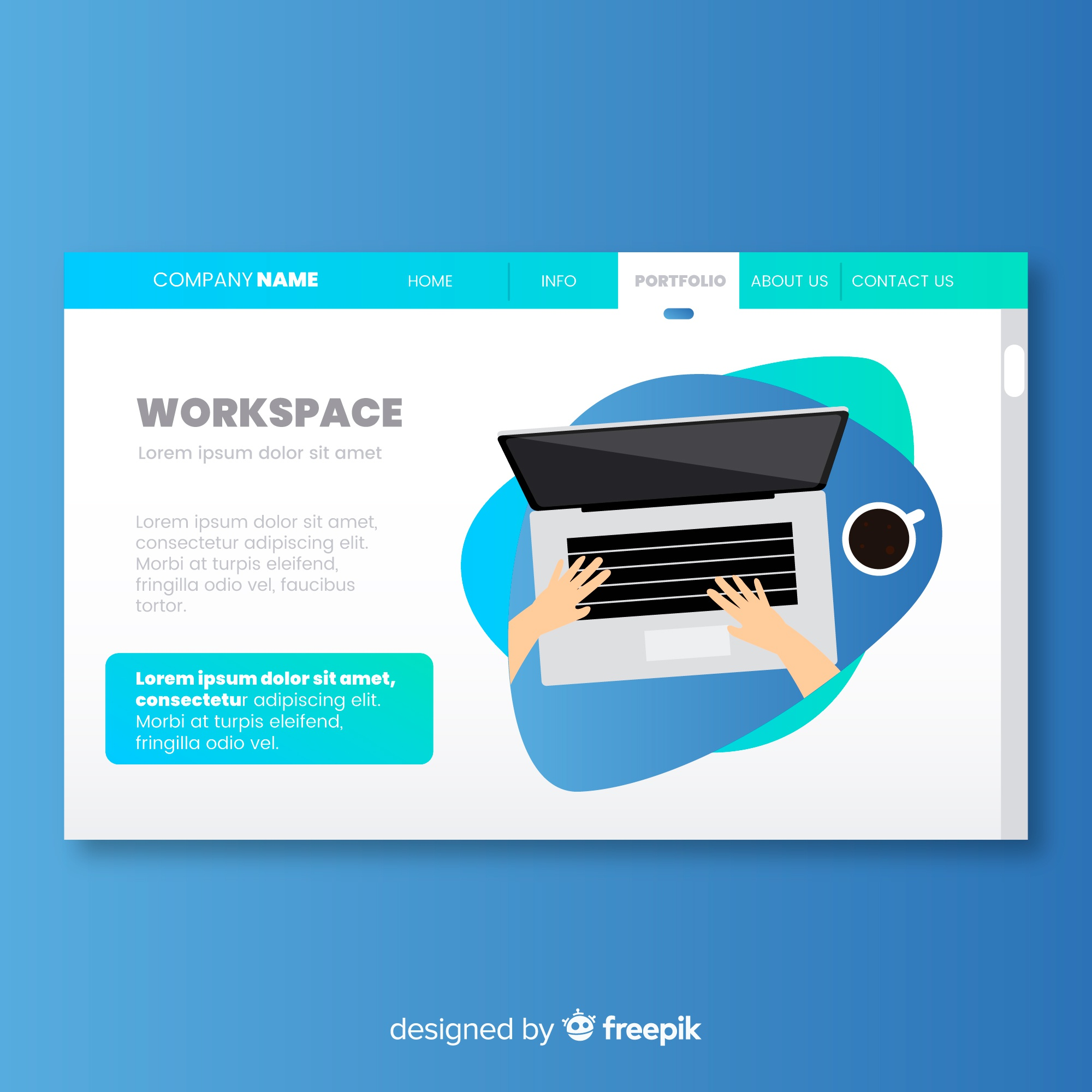 Landing page with workspace concept