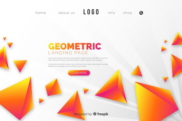 Landing page with yellow pyramids