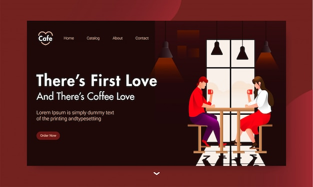 Landing page  with young boy and girl drinking coffee at cafe table on brown .