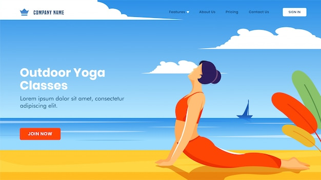 Landing page  with young girl doing exercise in bhujangasana pose on beach view  for outdoor yoga classes.
