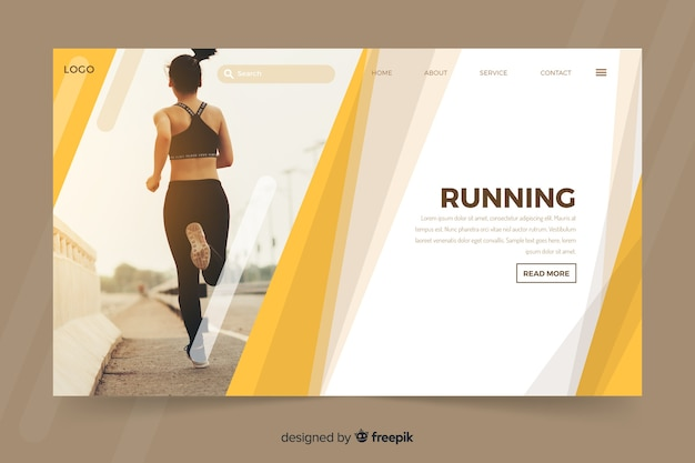 Landing page with young  woman running