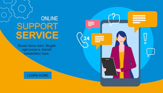 Landing page. woman assistant on mobile phone display support service
