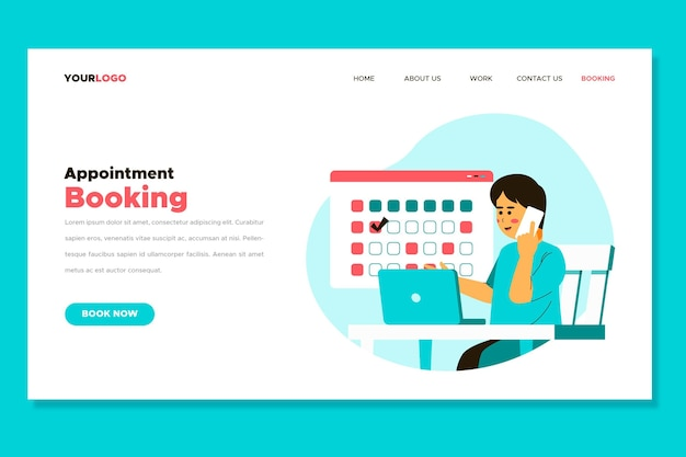 Landing page of woman making appointments
