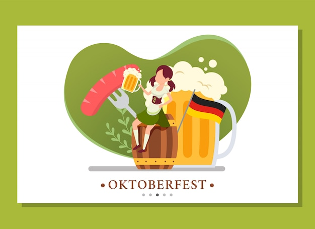 Landing page of woman sitting in the barrel while drinking in the oktoberfest event