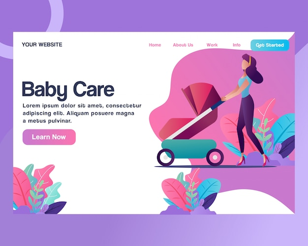 Landing page. a woman with a baby stroller