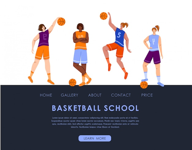 ランディングページ-ボールとコピースペースを持つ女性のバスケットボール選手、テキストの場所、筋肉質の運動少女