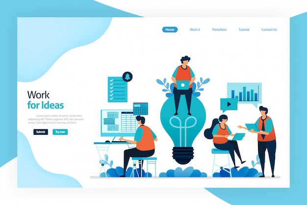 Landing page of work for idea