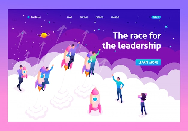 Landing page of young entrepreneurs compete for leadership