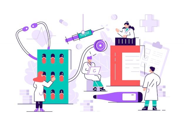 Фармацевт медицина аптека landing page. фармацевт уход за пациентом. медицинская индустрия. интернет-аптека инфографики фон веб-сайт или веб-страницу. современный плоский стиль иллюстрации шаржа
