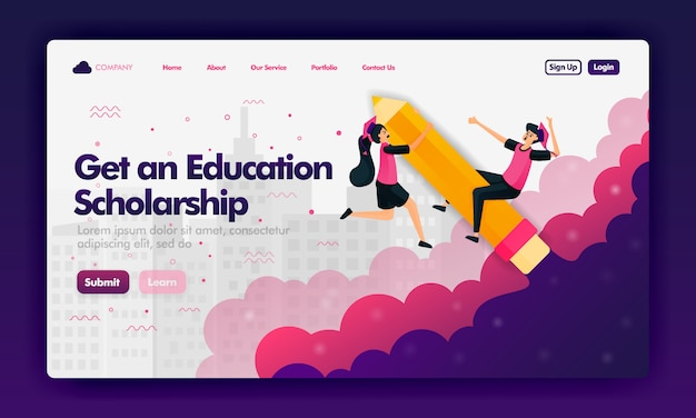 Объявления, чтобы получить образовательные стипендии с плоским мультфильмом для landing page