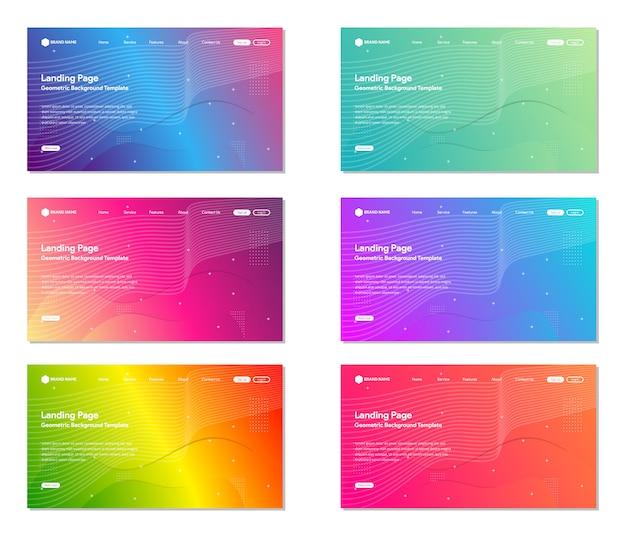 Набор красочных landing page веб-сайт фон, современный абстрактный стиль, линии и волны