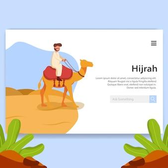 Landing page иллюстрация хиджра, исламский новый год дизайн пользовательского интерфейса