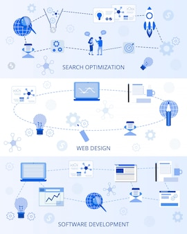 Плоские баннеры маркетинг набор бизнес landing page
