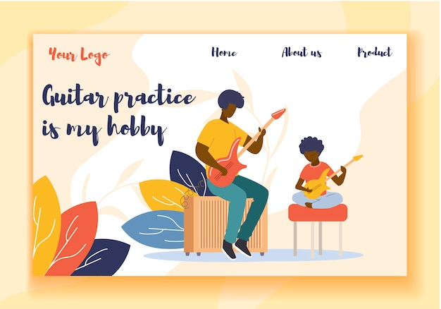 Landing page презентация продвижение игра на гитаре