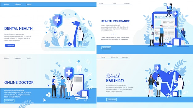 Landing pages. online doctor world health day dental insurance vector illustration.