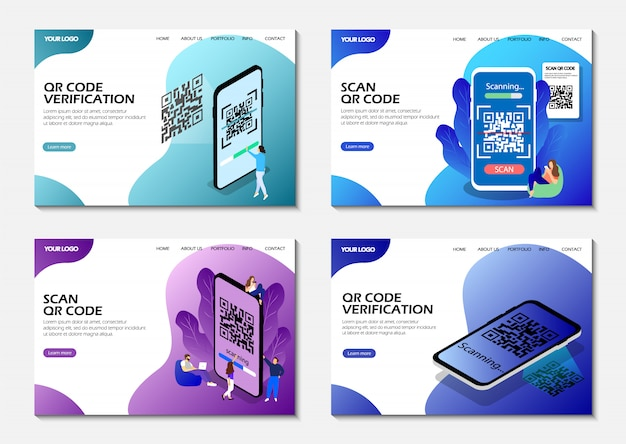 Landing pages. scan qr code, qr code verification. isometric. modern web pages.