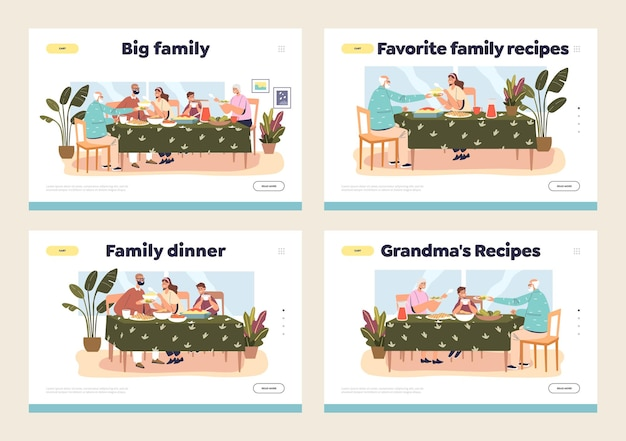 Landing pages set with family dinner concept and parent and kids gathering at festive meal at home