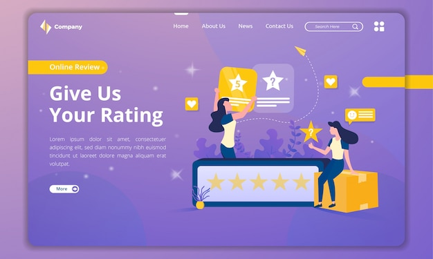 Landing pages with customer illustrations give ratings
