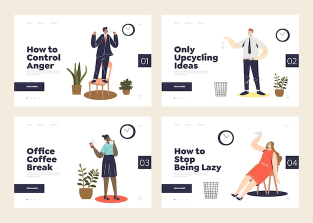 Landing pages with lazy or procrastinating office relaxed or stressful workers at workplace. set of website templates for relaxation at work concept
