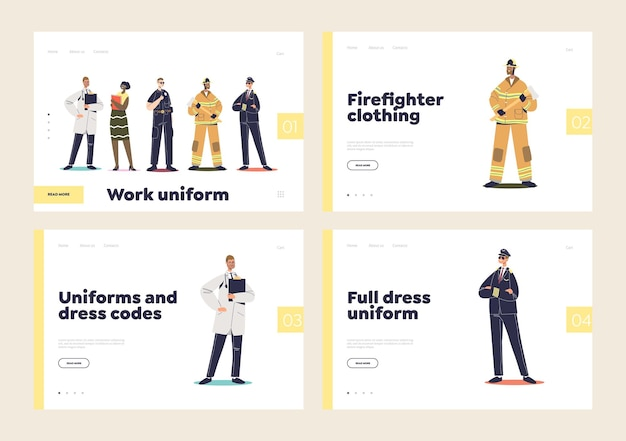 Landing pages with professional uniforms for pilot, fireman, doctor and police officer