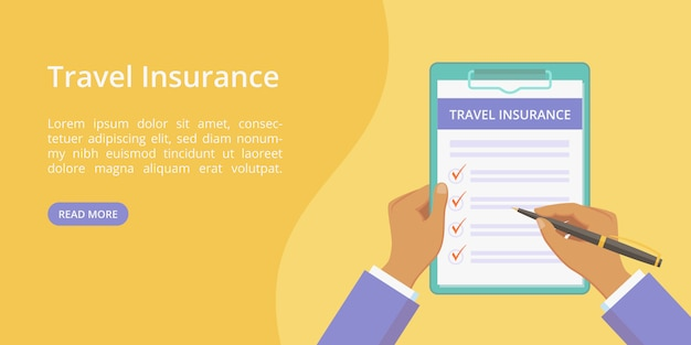 Landing travel insurance on clipboard with hands