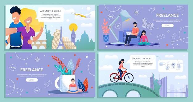 Landing web page bundle set путешествия и фриланс