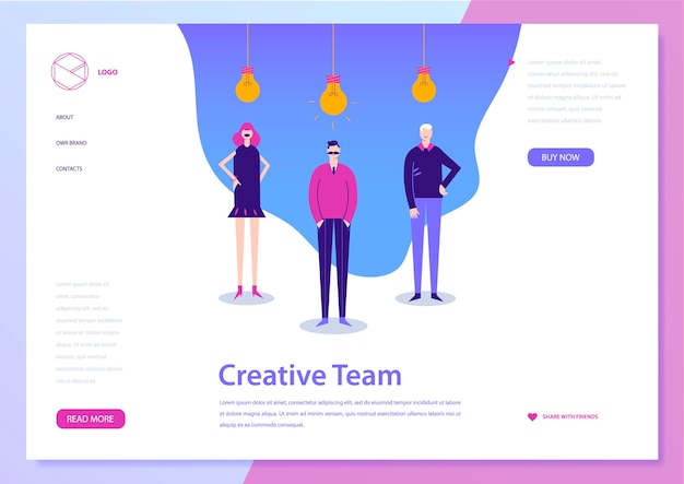 Landing web page concept. coworking, freelance, teamwork, communication, interaction, idea. men and woman standing with lamp bulbs upside.