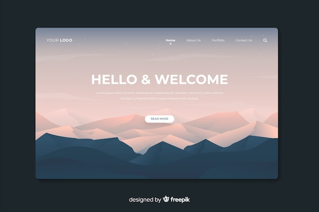 Landing web page with gradient mountains and forest