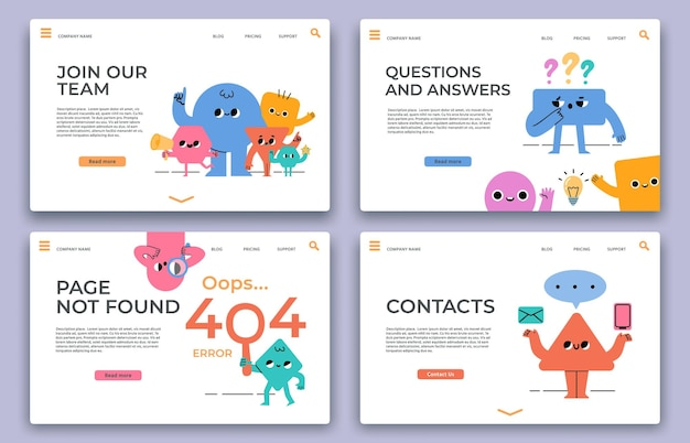 Landing web pages. join our team, hiring, qa online support service, 404 error and contact website page with abstract characters vector set. page not found business company template