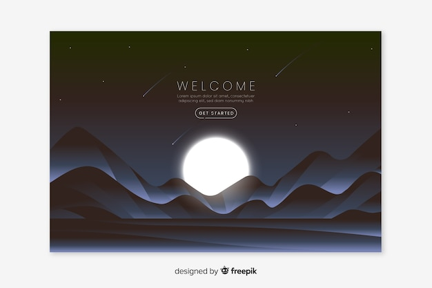 Landing webpage with gradient landscape
