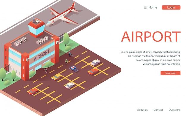 Landing website isometric modern airport terminal