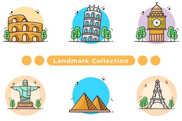 Landmark and building illustration in hand drawn
