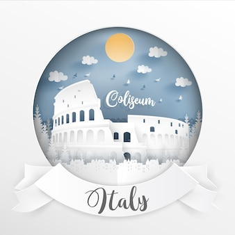 Landmark of italy and buildings with white frame and label.